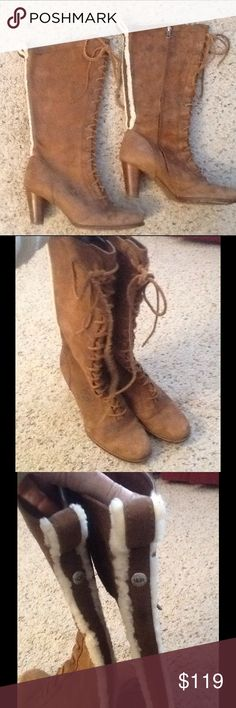 UGG AUSTRALIA BROWN LEATHER LACE UP BOOTS HEELS 10 UGG sz 10 tall brown leather lace up boots.  Excellent condition!  Nice fur accent on back.  Really gorgeous boots!  Will ship right away.  Check out my other designer items UGG Shoes Heeled Boots