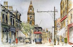 Pete Lapish - Queen Street - Morley near Leeds - West Yorkshire - England -  In the distance is Morley Town Hall with it's clock tower & dome - 1920