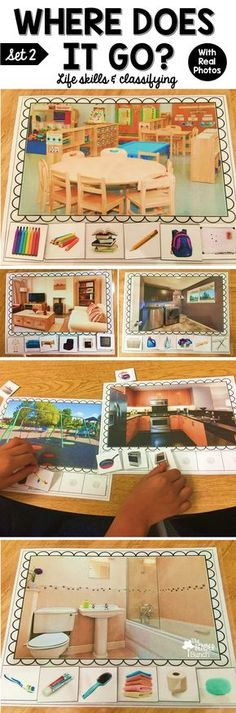 Students will enjoy learning to classify household items in a more meaningful way with these real life photos! Life Skills Classroom, Life Skills Activities, Speech Activities, Autism Classroom, Language Activities, Therapy Activities, Educational Activities, Classroom Activities, Learning Activities