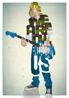 Kurt Cobain typography art https://www.etsy.com/listing/155801846/kurt-cobain-typography-print-based-on