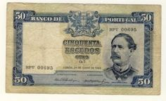 Portugal 1955 banknote 50 Escudos in Fine condition