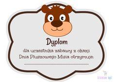 Dzieckiem bądź: Dyplomy na Dzień Pluszowego Misia Bujo, Diy And Crafts, Kindergarten, Preschool, Teddy Bear, Creative, Pattern, Kids, Poster