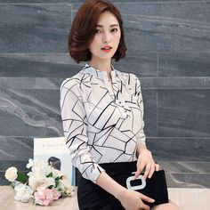 Women's #white long sleeve pullover #shirts with irregular stripe texture detail, V neck, Contrast color, casual, outdoor, leisure, work Occasions.