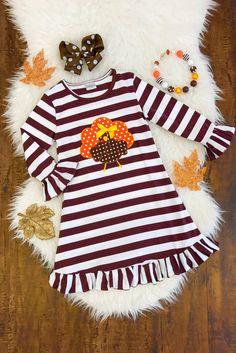 Turkey Stripe Ruffle Dress