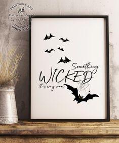 Halloween Printable Wall Art Something Wicked Creepy Decor image 0 Halloween Bat Decorations, Halloween Wall Decor, Halloween Artwork, Halloween Poster, Halloween Prints, Halloween Images, Halloween Signs, Halloween House, Holidays Halloween