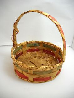 Vintage Easter Basket Woven Wicker Made in by wallstantiques, $8.99