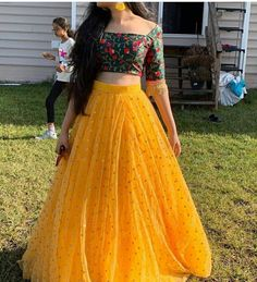 Designer lehenga choli - Image may contain one or more people, people standing and outdoor Indian Gowns Dresses, Indian Fashion Dresses, Dress Indian Style, Indian Designer Outfits, Indian Outfits, Designer Dresses, Indian Skirt And Top, Indian Long Dress, Indian Wedding Gowns