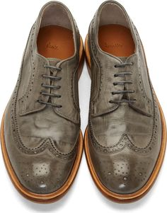 Paul Smith Washed Grey Leather Longwing Brogues