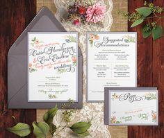 Floral Wedding Invitation Romantic Floral by ForgetMeKnotCreative