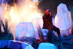 Frank Ocean sits among cool blue ice and smoking hot fire as he sings his hit song Thinkin Bout You.'   MTV Photo Gallery