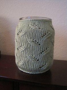 Jar Candle Cozy - Peapod Eyelet pattern by Sasha Baugess