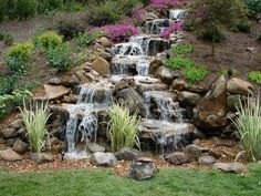 "Pondless Waterfalls (use soaker & rain barrel to create some type of ""waterfall"") Waterfall Landscaping, Garden Waterfall, Waterfall Fountain, Front Yard Landscaping, Backyard Stream, Backyard Water Feature, Ponds Backyard, Garden Ponds, Garden Yard Ideas"