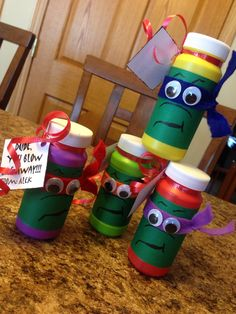"Teenage Mutant Ninja Turtles bubbles. ""Did, you blow me away"" Valentines"