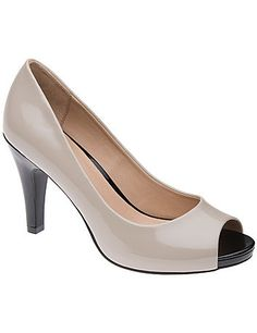 Feminine peep toe pumps instantly elevate any look with a colorblock motif and polished patent shine. In comfortable wide widths with a non-slip sole. sonsi.com