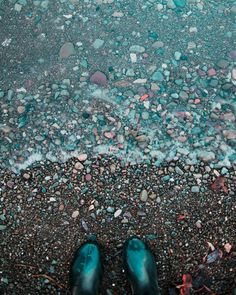 Fall tip: Always wear rubber boots to the beach.  #beach #boots #rocks #lake #stones #feet #wave #fall #tip #photo #autumn
