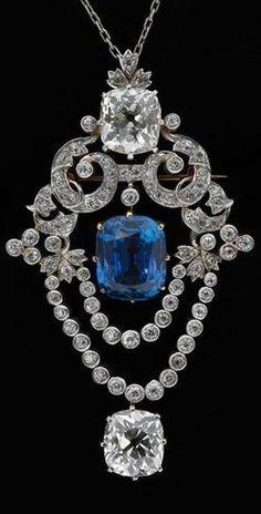 A Belle Epoque platinum, diamond and sapphire pendant brooch, by Tiffany & Co., circa 1900. #Tiffany #BelleÉpoque #pendant #brooch