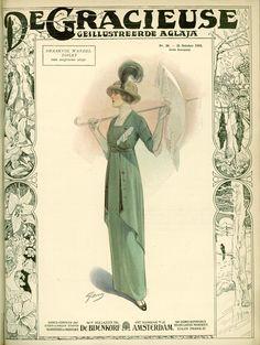 [De Gracieuse] Smaakvol wandel-toilet van zeegroene serge (October 1913)