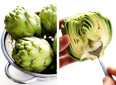 Seriously the most amazing roasted artichokes recipe! They're stuffed with lots of garlic and herbs, seasoned with lots of lemon and black pepper, and roasted to crispy, tender perfection. The perfect vegetable side dish! Roasted Artichoke Recipe, Baked Artichoke, Artichoke Recipes, Roasted Artichokes, Artichoke Hearts, Easy Appetizer Recipes, Vegetable Recipes, Vegetarian Recipes, Appetizers