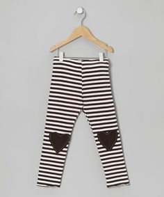 Take a look at this Brown Stripe Lovely Heart Leggings - Toddler & Girls by Million Polkadots on #zulily today!