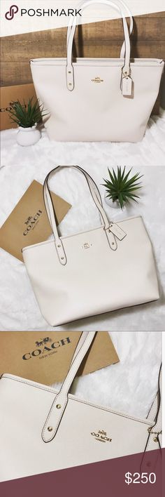 """NWT Coach City Zip Tote 100% Authentic. Details: Made of classicCrossgrain leather Inside zip, cell phone and multifunction pockets  Zip top closure, fabric lining Handles with 9 1/2"""" drop Size: 11 3/4"""" (L) x 10 1/2"""" (H) x 5 1/2"""" (W) Color: Chalk Coach Bags Totes"""