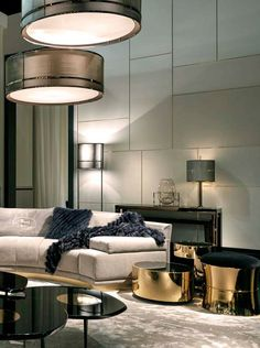 Cosy home with Fendi Casa Artù sofa and gold Constellation coffee tables #elegance #luxury #living Salone del Mobile Milano 2015: