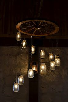 Spiral Wagon Wheel Mason Jar Chandelier (large)