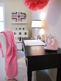 Study Time - Make study and homework time more appealing in a girls bedroom by adding a sleek, grown-up desk.Pretty jars will keep pencils, pens and markers in place and add decorative appeal. Keep the top of the desk cleared off to inspire a welcoming workspace. Design by RMS user nu2tn