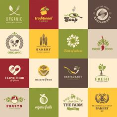 Organic Natural Restaurant Food Logos Set