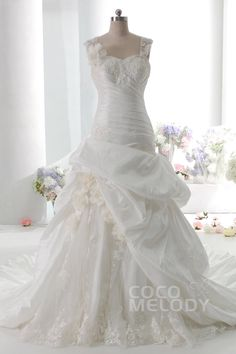 Dramatic+A-Line+Straps+Dropped+Train+Taffeta+Ivory+Sleeveless+Lace+Up-Corset+Wedding+Dress+with+Pick-Ups+and+Appliques+027082006001