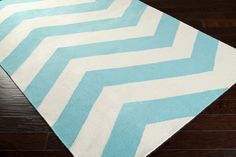 Aqua Blue and White Chevron Design Rug