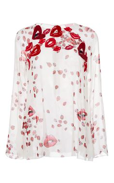 Long Sleeve Silk Lip Print Blouse - GIAMBA Resort 16 - Preorder now on Moda Operandi