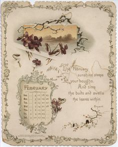 Golden Words from the Poets Calendar, February 1894 (Bryant)