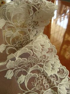 white lace trim embroidered lace fabric tulle by WeddingbySophie, $3.80