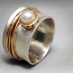 Sterling silver, 14K gold, pearl by Ginger Meek Allen ~ Love!