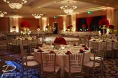 Nice red and white wedding table set-up