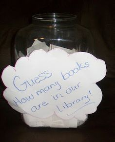 Guess how many books are in the library - could be a fun game for carnival: win a bag of books.