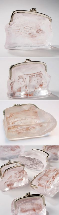 Glass change purses, filled with quiet traces of mystery contents. They are part of an ongoing series by British artist Philippa Beveridge, titled Lost & Found.  From www.thejealouscurator.com