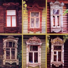 In the rural houses of the Golden Ring, elaborately carved wooden decorations also appeared on the edges of roofs and balconies, but were most beautiful as window surrounds. The carvings were uniquely Russian, an amalgam of Russian folklore motifs, Baroque embellishment and the graceful linear quality of Art Nouveau. They combine flowers, leaves and geometric shapes with stylized depictions of  birds and animals, as well as mythological creatures, such as the Sirin.