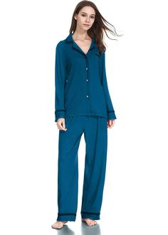9523baab64 Women Cotton Pajamas Long Sleeved Button Down Notch Collar Pajama Set
