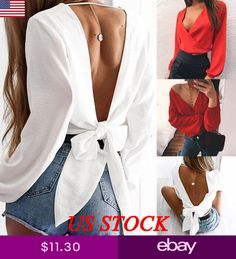 New Comfort Elegance Parties Ladies Fashion 2020 Casual V-neck Solid Color Party Sexy Cross Bandage Backless Blouse Tops Xxl 4000928159298 1878 Crop Top Outfits, Crop Top Shirts, Girly Outfits, Chic Outfits, Fashion Outfits, Crop Tops, Womens Fashion, Ladies Fashion, Fiesta Outfit