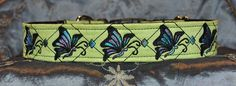 "Pet Necklace ""Soar Like a Butterfly"" Design Dog Collar in Lime with black and peacock thread."