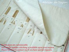 Knitting Needle Case Needle Holder Craft Bag by AtelierDeSoyun, $90.00