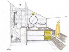 Bathroom Designs, Stylish Bathroom Sketch Design Featuring Corner Glass Bathroom Vanities Towel Racks Ideas Using With Bathroom Planner Tool. Croquis Architecture, Interior Architecture Drawing, Drawing Interior, Interior Design Sketches, Interior Rendering, Sketch Design, 3d Rendering, Amazing Architecture, Bathroom Drawing