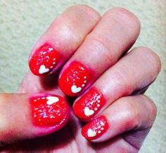 Red glitter heart nails