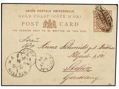 COSTA DE ORO. 1884 (Aug 27). Addah. 1½d. brown stationery card (Plate 1), used to Stettin, Germany cancelled by ´Addah Seal´ handstamp in black. Addah cds at left and Accra, Code C, transit (Sept 13) cds. Stettin arrival at left Oct 15. Rare late usage of the Addah Seal handstamp and one of only 3 known usages of the Seal handstamp on postal card.    Dealer  SOLER Y LLACH    Auction  Minimum Bid:  1400.00EUR