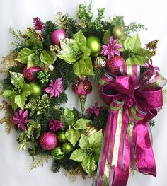 Autumn,Christmas,Holiday,Winter,Lime Green, Pink, Poinsettia Flower Door Wreath