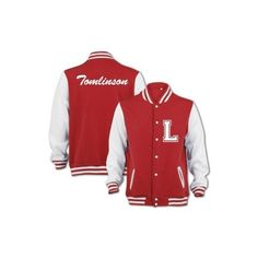 Bang Tidy Clothing Unisex Tomlinson Varsity Jacket ($55) ❤ liked on Polyvore featuring outerwear, jackets, one direction, 1d, varsity bomber jacket, red letterman jacket, varsity style jacket, varsity jacket and unisex jackets