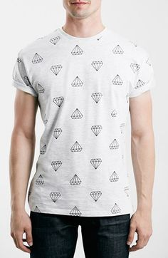 Free shipping and returns on Topman Diamond Print T-Shirt at Nordstrom.com. Shine some style in an allover-print T-shirt designed with dropped shoulders and fixed-cuff roller sleeves.