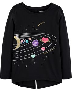 New OshKosh Girls Graphic Tee Top Solar System Sparkle Glitter 4 year NWT Black