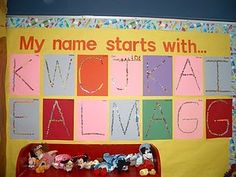 my name starts with....love this bulletin board idea for the beginning of the school year maybe use this theme with the painters tape letter idea?